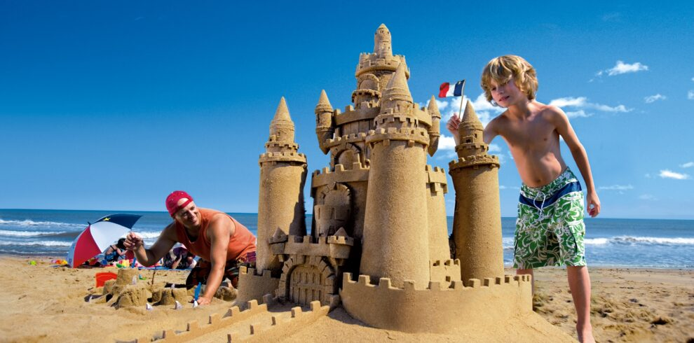 Sandcastle building at Miscou Beach on Miscou Island, new Brunswick, Canada.